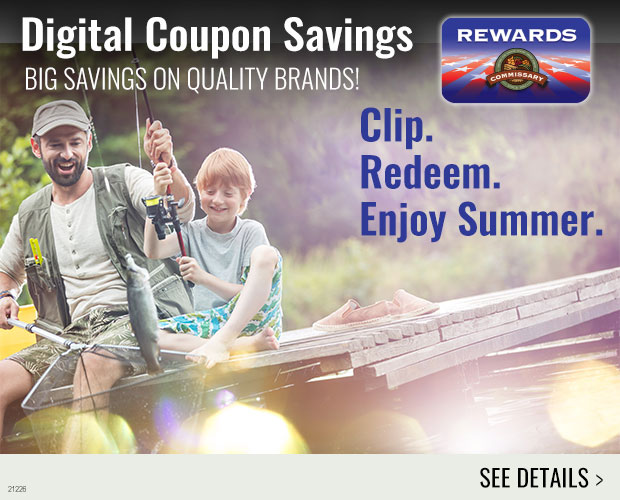 Father and son sitting on a fishing dock. Links to Rewards Coupons on click.